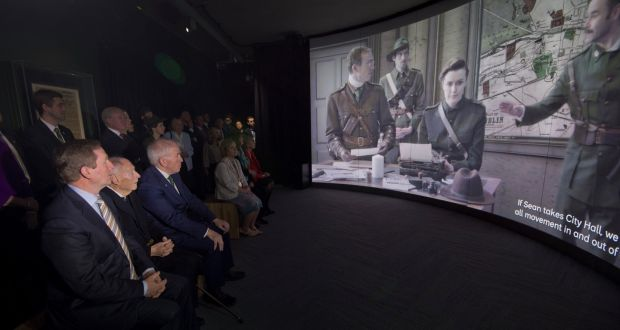 Taoisigh (that's the plural of Taoiseach incidentally... which is Irish for Prime Minister) watching the film at GPO Witness History.
